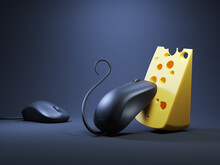 Computer Mouse And Cheese. 3d