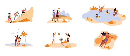 Collection of six different leisure activity scenes with people mountaineering, swimming, hiking, at the seaside, playing ball and sunbathing, colored vector illustration