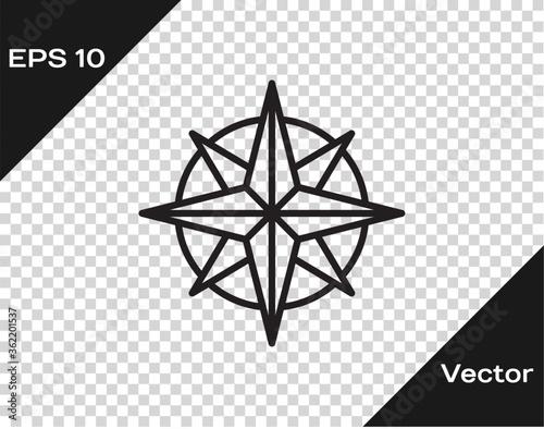 Black line Wind rose icon isolated on transparent background Fototapet