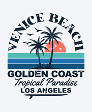 Venice Beach Theme Vector Illustrations. For T-shirt Prints And Other Uses.