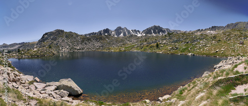 Beautiful panoramic on the llac dels pessons route in Andorran Pyrenees Canvas Print