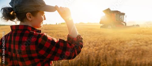 Fototapeta Woman farmer with digital tablet on a background of harvester. Smart farming concept. obraz