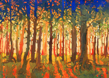 Bright Sunset In Forest Hand-m...