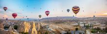 Hot Air Balloon Flying At Sunr...
