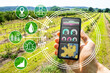 Leinwanddruck Bild - Smart Farming Digital Technology Agriculture App