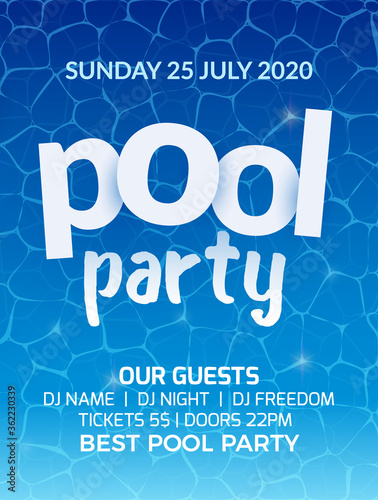Fototapeta Pool summer party invitation banner flyer design. Water Pool party template poster obraz