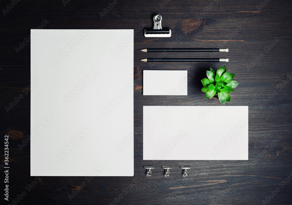 Fototapeta Stationery mock up on wooden background. Responsive design template. Branding identity mock up. Top view. Flat lay.