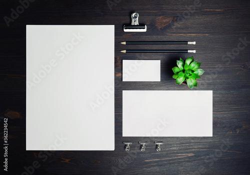 Fototapeta Stationery mock up on wooden background. Responsive design template. Branding identity mock up. Top view. Flat lay. obraz