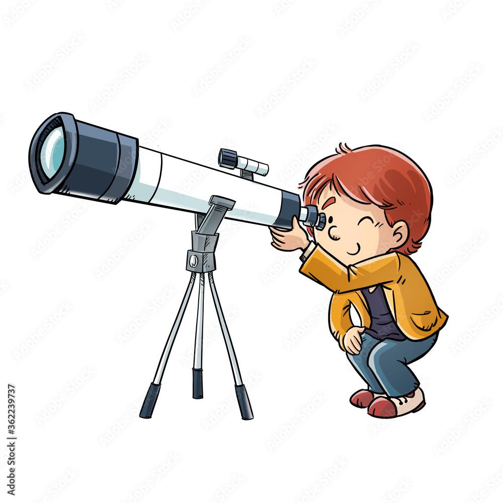 Fototapeta Boy looking through a telescope