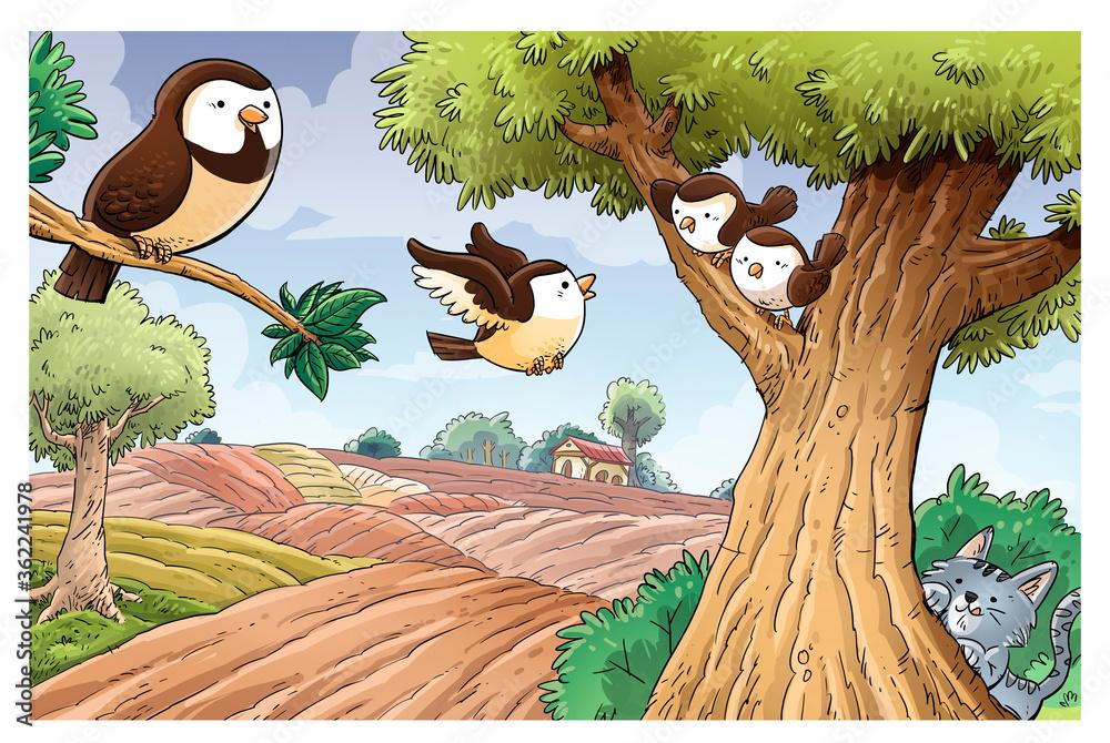 Fototapeta Sparrows in field