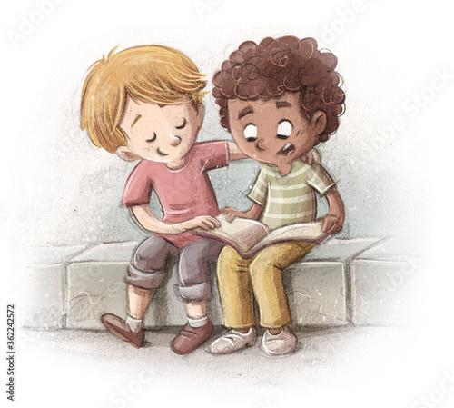Fototapeta Children of different ethnicities reading obraz