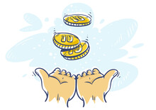 Cashback. Human Hands Katching 10 Cents Coins Money Currency