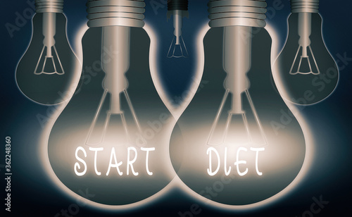 Handwriting text writing Start Diet. Conceptual photo the practice of eating food in a regulated and supervised fashion Realistic colored vintage light bulbs, idea sign solution thinking concept