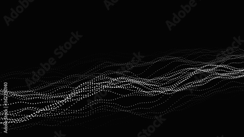 Wave of particles on dark background Fototapet