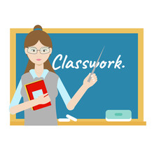 Teacher Hands Stick Standing At The Blackboard With Classwork Text. Flat Vector Illustration School Teacher On White Background.