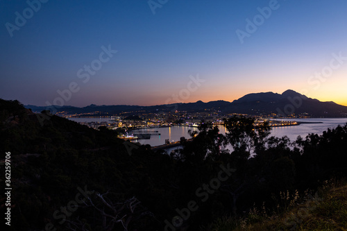Dusk over the city of Ceuta in Spain from San Antonio