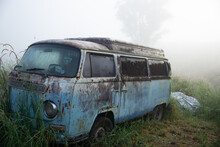 Classic Abandoned Bus In The Hills