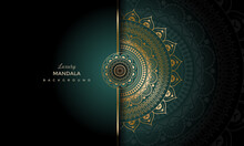 Luxury Geometric Gold Gradient Dark Green Mandala Background. Design For Any Card, Birthday, Other Holiday, Kaleidoscope, Yoga, India, Folk, Arabic. Indian Pattern Wallpaper.