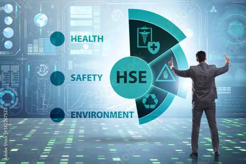 Fototapeta HSE concept for health safety environment with businessman obraz