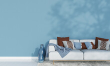 Minimal Living Room And Blue W...