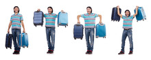 Young Man With Suitcase Isolat...