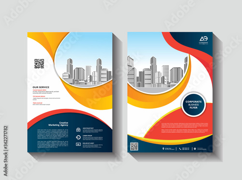 Photo Brochure design, cover modern layout, annual report, poster, flyer in A4 with co