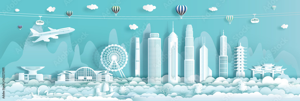 Fototapeta Travel Landmark downtown China Hong Kong with urban skyscraper background.