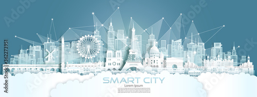 Technology wireless network communication smart city with architecture in France. #362273951