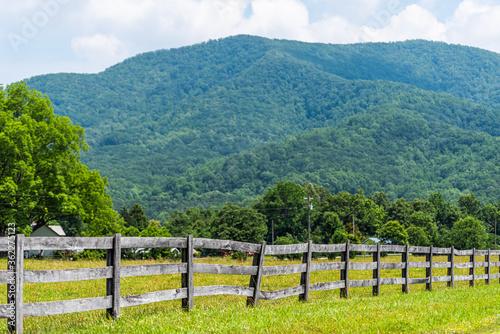Wallpaper Mural Farm road fence path in Roseland, Virginia near Blue Ridge parkway mountains in