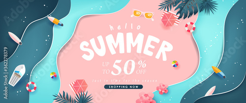 Summer sale design with paper cut tropical beach bright Color background layout banners template.Paper art concept. - 362278379
