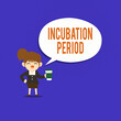 Leinwanddruck Bild - Text sign showing Incubation Period. Business photo text time elapsed starting from getting exposed to an infectious agent Female Hu analysis Wearing Uniform Holding a coffee To Go Cup and Speech