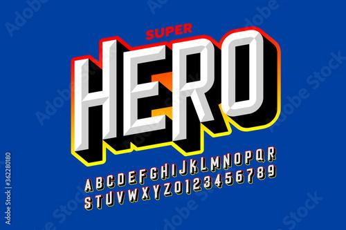 Fotografie, Obraz Comics superhero style font, alphabet letters and numbers