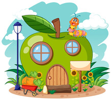 Green Apple House And Cute Wor...
