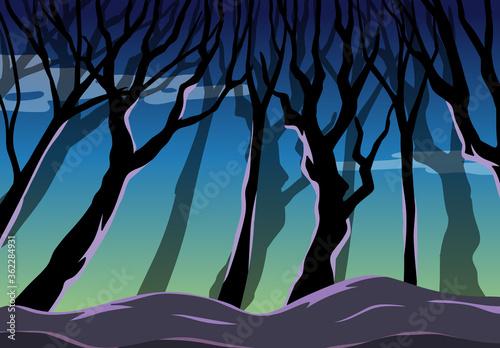 Tablou Canvas Big tree on dark forest background scene