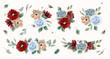 vintage red blue flower arrangement watercolor collection