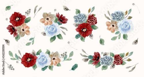 vintage red blue flower arrangement watercolor collection