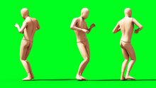 Dummy, Mannequin Isolate On Green Screen. 3d Rendering.