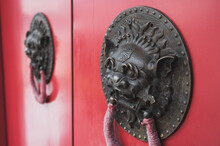 Red Chinese Temple Door With B...