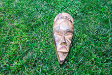 Longitudinal Mask On The Grass,place For Writing