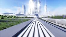 Futuristic Sci Fi Monorail Tra...