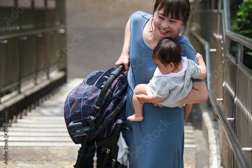 ベビーカーを持ち上げ階段を上る母親 Fotobehang