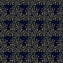 Seamless Abstract Pattern With Golden Elements On A Blue Background, Ornament, Modern Concept For Your Design.