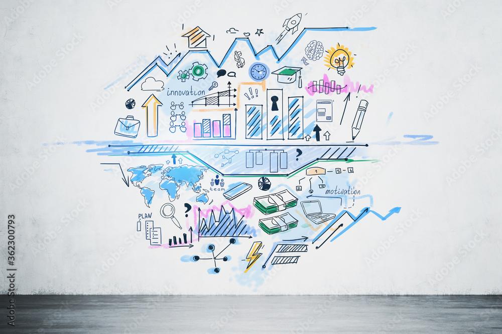 Fototapeta Creative modern world business plan sketch