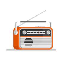 Orange Old Radio Tuner. Vector Illustration Of Vintage Radio Receiver, Flat Style. Retro Radio.
