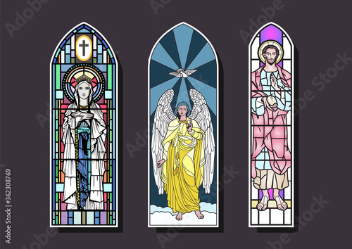 Fotografie, Obraz Stained Glass Window Set, Cathedral, Church Windows, Ancient Saints Drawings