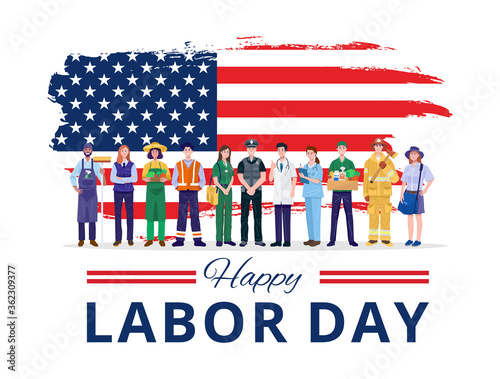 Fototapeta Happy Labor Day. Various occupations people standing with American flag. Vector obraz