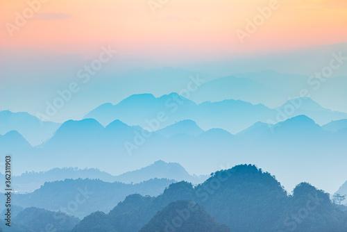 Valokuvatapetti Ha Giang karst geopark landscape in North Vietnam