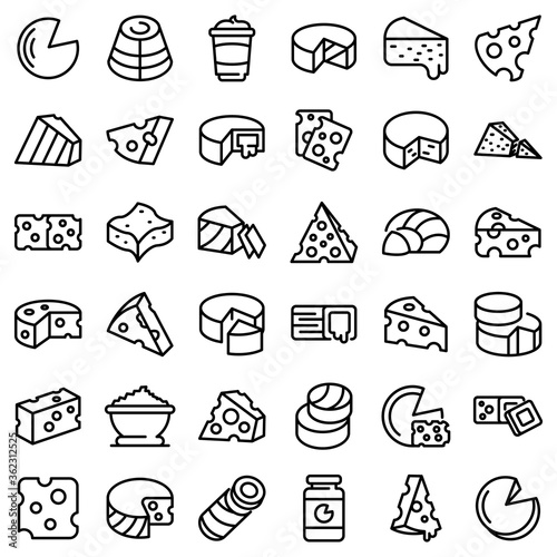 Fototapeta Cheese icons set. Outline set of cheese vector icons for web design isolated on white background obraz