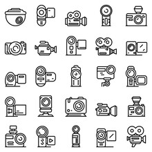 Camcorder Icons Set. Outline Set Of Camcorder Vector Icons For Web Design Isolated On White Background