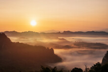 Sea Of Mist And Sunset Over The Mountain At Ban Jabo, Mea Hong Son In Thailand
